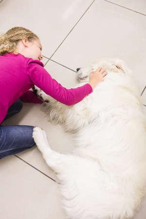 petting: Girl petting her pet dog in clinic