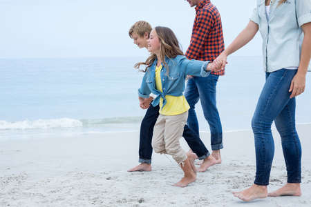 holding hands while walking: Children holding hands while walking with parents at sea shore
