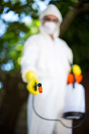 insecticide: Man wearing protective workwear while spraying insecticide in lawn