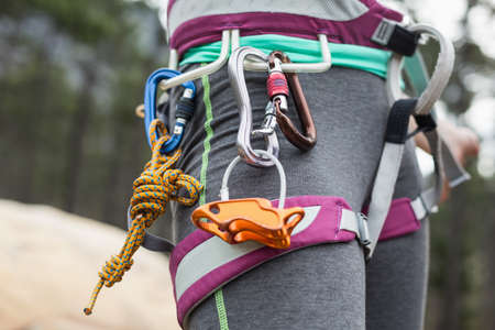 adventuring: Midsection of woman with climbing equipment against trees at forest