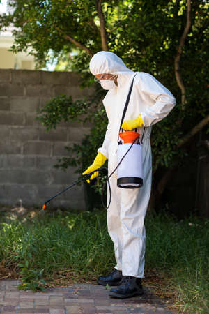 crop sprayer: Man in protective workwear while spraying pesticide on grass in lawn LANG_EVOIMAGES