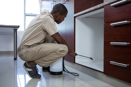 キッチンで農薬を散布する害虫制御男