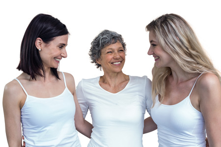 arm around: Women standing together with arm around on white background