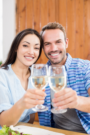 toasting wine: Portrait of young couple toasting wine glass at home Stock Photo