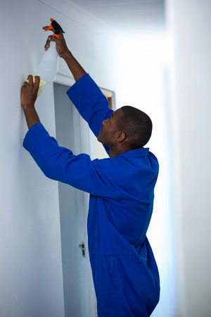 insecticide: Handyman spraying insecticide on wall at home