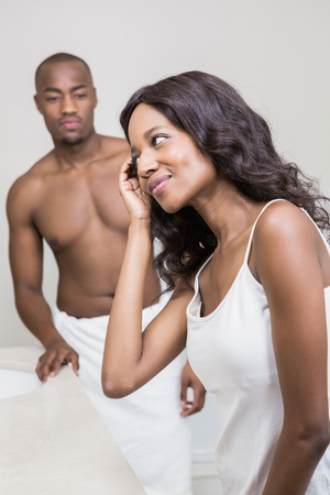 couple bathroom: Bathroom routine for happy young couple Stock Photo