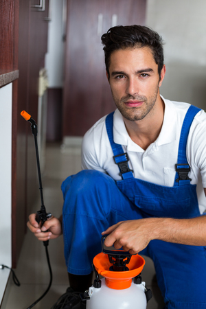 insecticide: Portrait of serious man spraying insecticide in kitchen