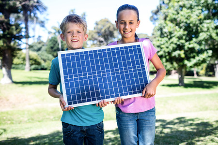 公園に太陽電池パネルを保持している兄弟の肖像画