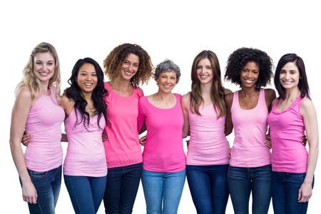 Happy multiethnic women standing together with arm around on white background