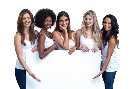 happy people white background: Multiethnic women holding white board on white background
