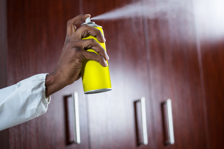 Hand spraying pesticide from a spray can at home Stock Photo