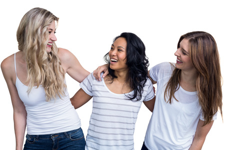 arm around: Multiethnic women standing together with arm around on white background Stock Photo
