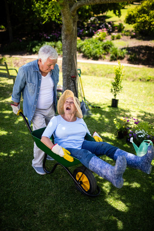 Happy senior couple playing with a wheelbarrow in park