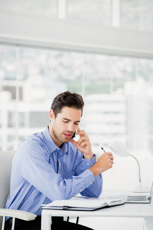 phone professional: Businessman talking on mobile phone in office Stock Photo