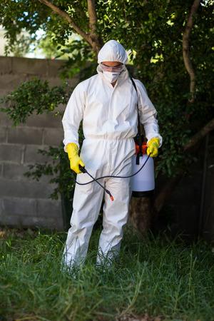 crop sprayer: Man spraying pesticide on grass in lawn