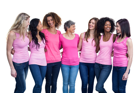 women friendship: Happy multiethnic women standing together with arm around on white background