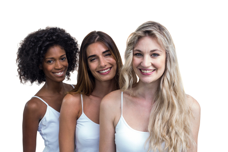 standing together: Multiethnic women standing together on white background
