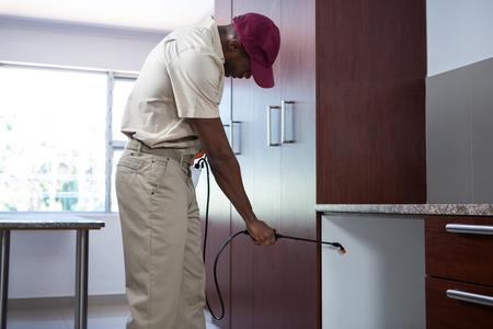 pesticide: Pest control man spraying pesticide in kitchen