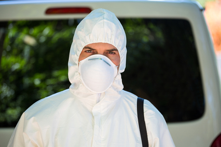 protective workwear: Close-up of pest control man wearing protective workwear