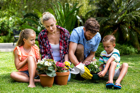 family gardening: Family gardening with flower pots sitting on grass at yard