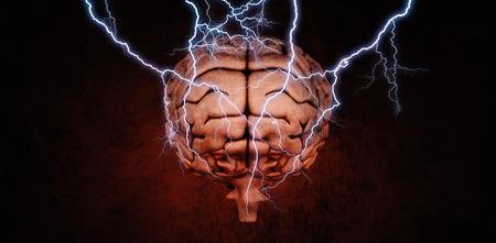 interrogations: Lightning bolt against dark background Stock Photo