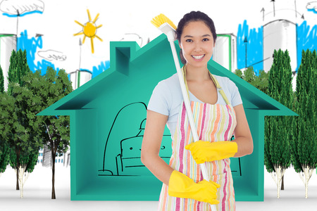 Smiling woman with a broom on her shoulder  against view of house icon