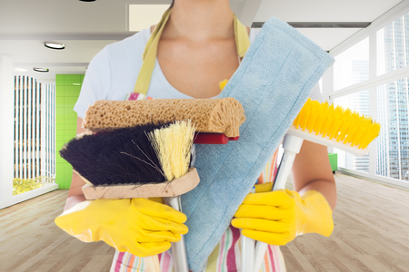 mops: Woman holding brushes and mops against modern room overlooking city