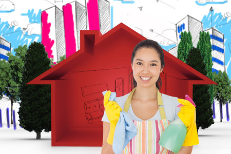 spray bottle: Woman holding cloth and spray bottle against view of house icon
