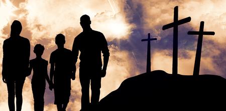 Portrait of happy family walking over white background against cross religion symbol shape over sunset sky