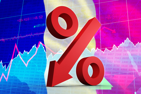 regression: Percentage arrow against stocks and shares Stock Photo