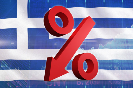 stocks and shares: Percentage arrow against stocks and shares Stock Photo