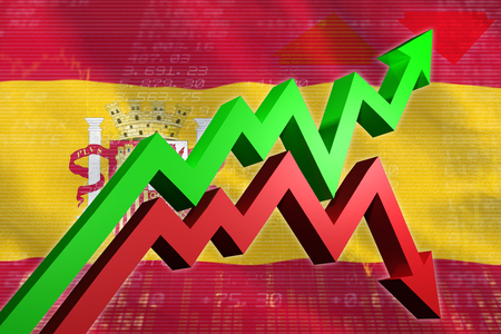 regression: Red and green jagged arrows against stocks and shares