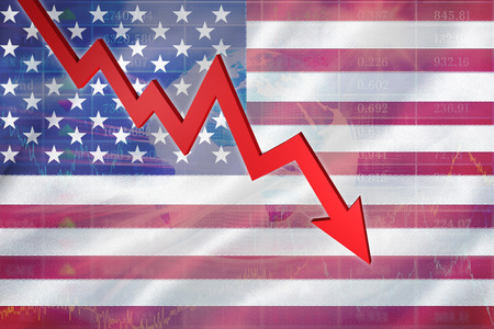 spangled: Red arrow pointing up against stocks and shares