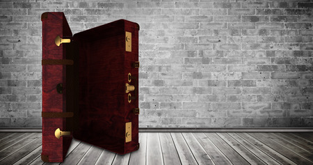 floorboards: Composite image of opened suitcase against grey room Stock Photo