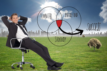 swivel chair: Businessman relaxing in swivel chair against cityscape on the horizon