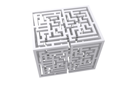 in need of space: Maze cube against white background with vignette