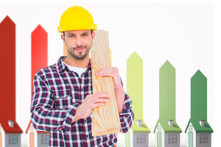 representing: Handyman holding wood planks against seven 3d houses representing energy efficiency Stock Photo