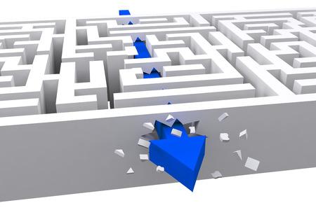 Arrow through maze against white background with vignette Stock Photo