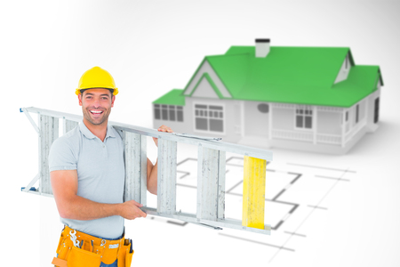mid distance: Portrait of smiling repairman carrying ladder against blue house behind an architectural plan