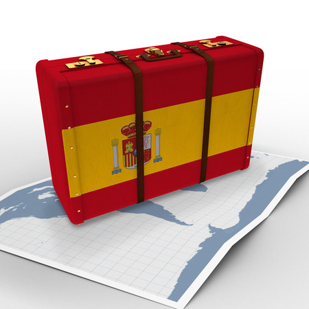 map case: World map against spain flag suitcase