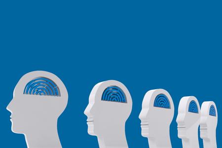 royal blue: Maze brain in head against royal blue