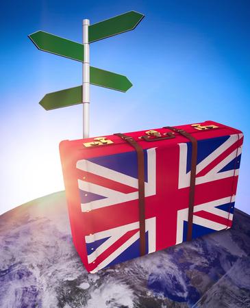 world flag: Great Britain flag suitcase against blue sky