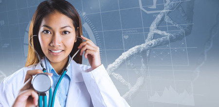 sequences: Asian doctor holding her stethoscope against image of a dna