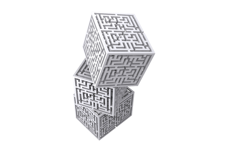 piling: Maze cubes piling on a white background