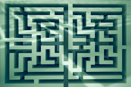 difficult: Maze against entrance to difficult maze puzzle Stock Photo