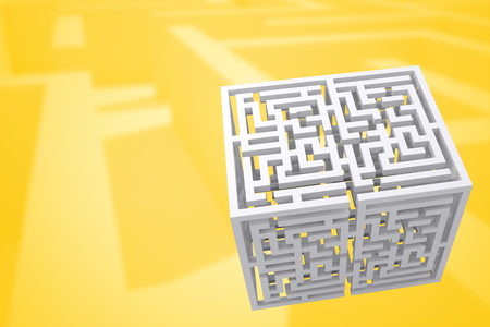 difficult: Maze cube against difficult maze puzzle