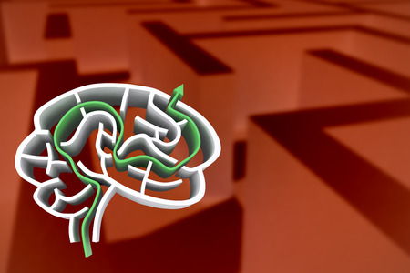 difficult: Brain maze with arrow against difficult maze puzzle Stock Photo