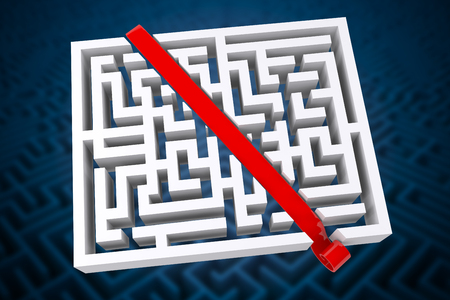 difficult: Line through maze against difficult maze puzzle Stock Photo