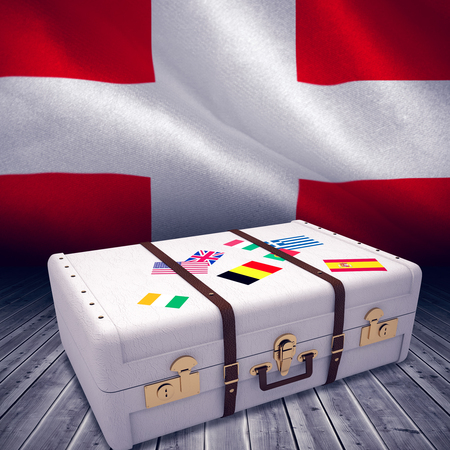 composite image: Composite image of suitcase against digitally generated swiss national flag