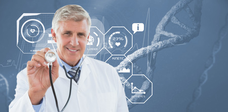 sequences: Happy doctor smiling at camera and showing his stethoscope  against image of a dna Stock Photo